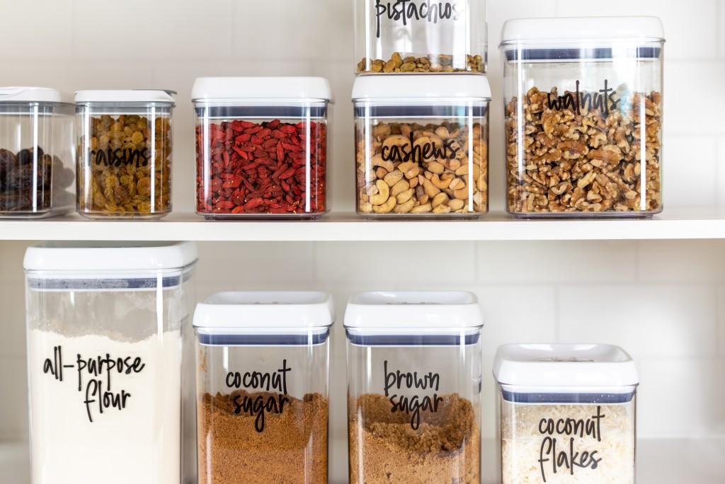 Baking Ingredients In An Organized Kitchen Pantry
